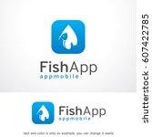 fish app logo template vector... | Shutterstock .eps vector #607422785