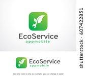 eco service logo template... | Shutterstock .eps vector #607422851