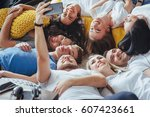 group beautiful young people... | Shutterstock . vector #607423661