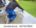 industrial worker on... | Shutterstock . vector #607427804