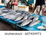 fresh raw tuna at market in sri ...   Shutterstock . vector #607434971