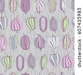 seamless floral pattern with... | Shutterstock . vector #607435985