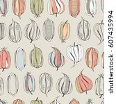 botany seamless pattern with... | Shutterstock . vector #607435994