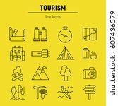 tourism icons set. vector flat... | Shutterstock .eps vector #607436579