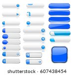blue and white menu buttons.... | Shutterstock . vector #607438454
