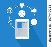 social media global network.... | Shutterstock .eps vector #607440281