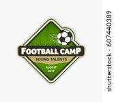 green football logo template.... | Shutterstock .eps vector #607440389