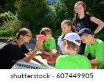children on vacation children's ... | Shutterstock . vector #607449905