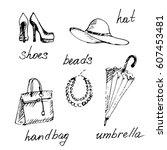 hand drawn set of woman... | Shutterstock .eps vector #607453481