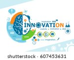 innovation related words and... | Shutterstock .eps vector #607453631