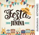 festa junina illustration.... | Shutterstock .eps vector #607454681