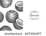 decorative frame with coconut.... | Shutterstock .eps vector #607456397