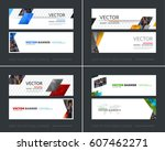 vector set of modern horizontal ... | Shutterstock .eps vector #607462271