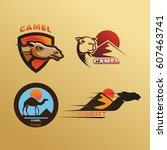 set of camel in desert logo | Shutterstock .eps vector #607463741