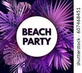 purple neon vector floral flyer ... | Shutterstock .eps vector #607468451