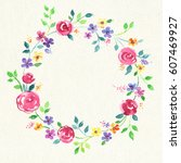 painted watercolor wreath of... | Shutterstock . vector #607469927