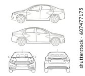 car sedan and suv drawing... | Shutterstock .eps vector #607477175