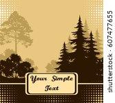 forest landscape  fir trees ... | Shutterstock .eps vector #607477655