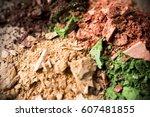 colorful eye shadow powder. | Shutterstock . vector #607481855