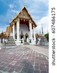 Buddhist temple in Bangkok,Thailand, Wat Pho - stock photo