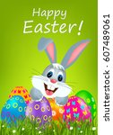 easter greeting card with... | Shutterstock .eps vector #607489061