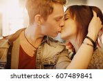 romantic couple touching and... | Shutterstock . vector #607489841