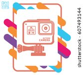 action camera icon   black... | Shutterstock .eps vector #607493144