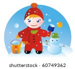A little boy on a winter walk and his Snowman - stock photo