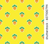 pineapple seamless pattern ... | Shutterstock .eps vector #607500794