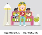 teen girl babysitter reads to... | Shutterstock .eps vector #607505225