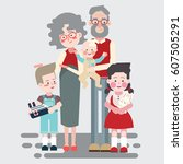 happy grandparents with their... | Shutterstock .eps vector #607505291