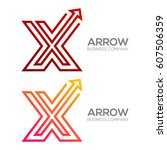 letter x with arrow  finance ... | Shutterstock .eps vector #607506359