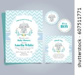 Stock vector elephant baby shower theme invitation template 607511771