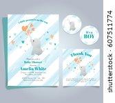 elephant baby shower theme... | Shutterstock .eps vector #607511774