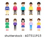 flat design icon character or... | Shutterstock .eps vector #607511915