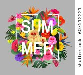 tropical flowers and leaves...   Shutterstock .eps vector #607512221