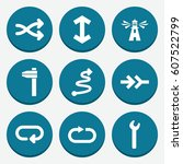 set of 9 direction filled icons ... | Shutterstock .eps vector #607522799