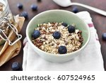delicious cereal breakfast with ... | Shutterstock . vector #607524965