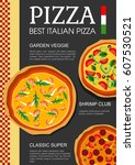menu for the italian pizza... | Shutterstock .eps vector #607530521