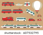 vector set of flat urban... | Shutterstock .eps vector #607532795