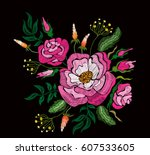 ethnic embroidery pink rose... | Shutterstock .eps vector #607533605