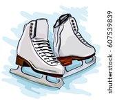women figure skates for sports...   Shutterstock .eps vector #607539839