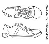 hand drawn sneakers  gym shoes. ... | Shutterstock .eps vector #607551959