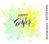 happy easter. vector... | Shutterstock .eps vector #607559441