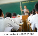 group of middle school students ... | Shutterstock . vector #607559585