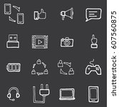 freehand line icons for... | Shutterstock .eps vector #607560875