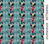 seamless bright geometric... | Shutterstock .eps vector #607566461
