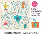 funny maze for children. help... | Shutterstock .eps vector #607570547
