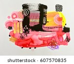 contemporary abstract art... | Shutterstock . vector #607570835