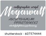 calligraphic handwritten font... | Shutterstock .eps vector #607574444